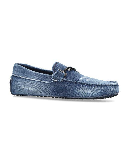 Tod's - Blue Denim Gommino Driving Shoes for Men - Lyst