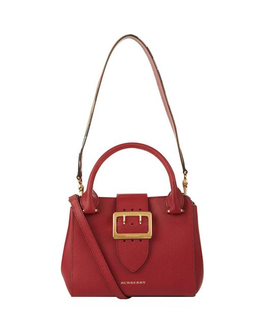 Burberry - Red Small Buckle Tote - Lyst