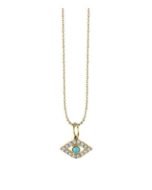 Sydney Evan - Orange Turquoise And Diamond Large Bezel Evil Eye Necklace - Lyst