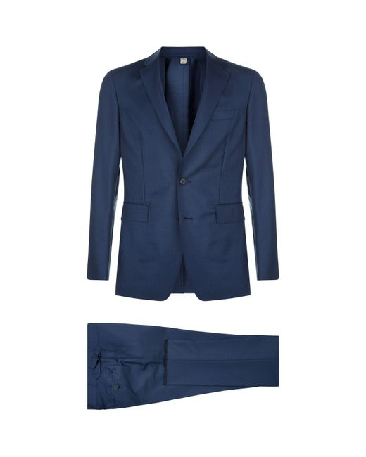 Burberry - Blue Wool Two Piece Suit for Men - Lyst