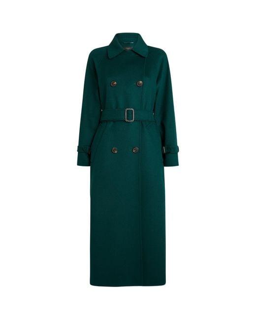 Weekend by Maxmara Green Wool-blend Trench Coat