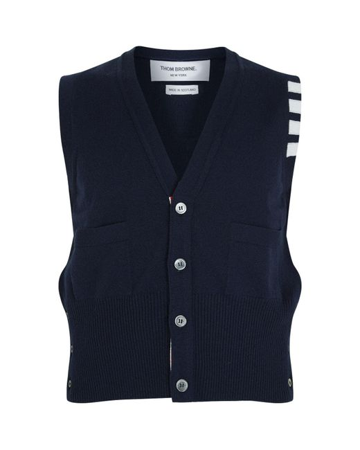Thom Browne | Blue Classic V-neck Vest Cardigan for Men | Lyst