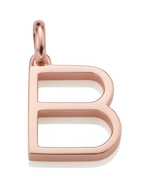 Monica Vinader - Pink Rose Gold Capital B Pendant - Lyst