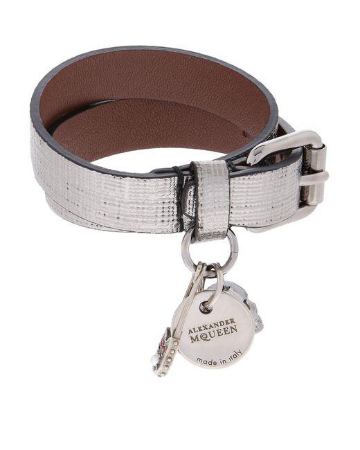 Alexander McQueen | Gray Metallic Double Wrap Bracelet | Lyst