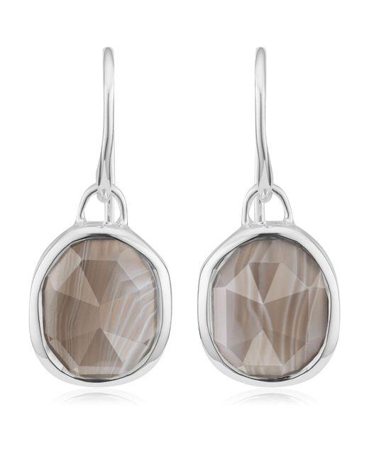 Monica Vinader   Metallic Siren Grey Agate Wire Earrings, Silver   Lyst