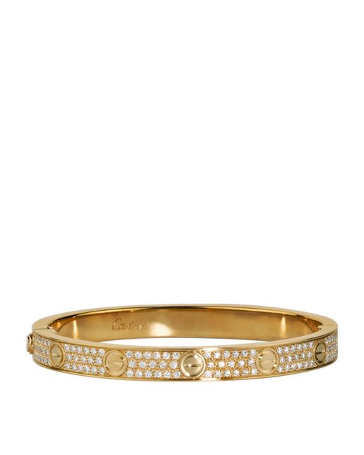 Cartier - Metallic Yellow Gold And Diamond-paved Love Bracelet - Lyst