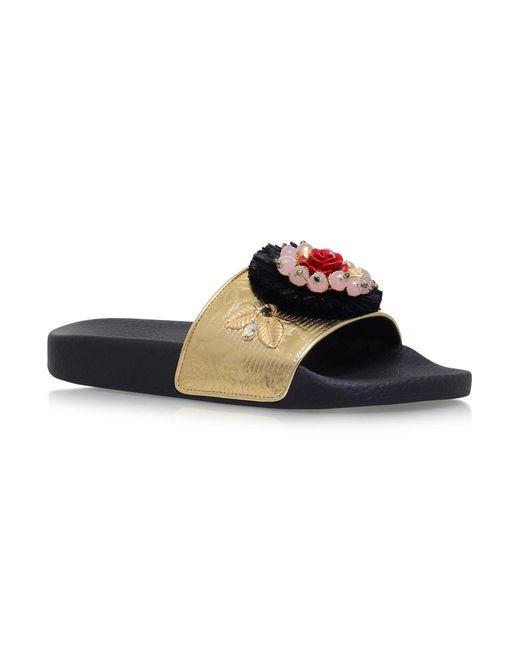 Dolce & Gabbana   Metallic Embellished Pool Slides   Lyst