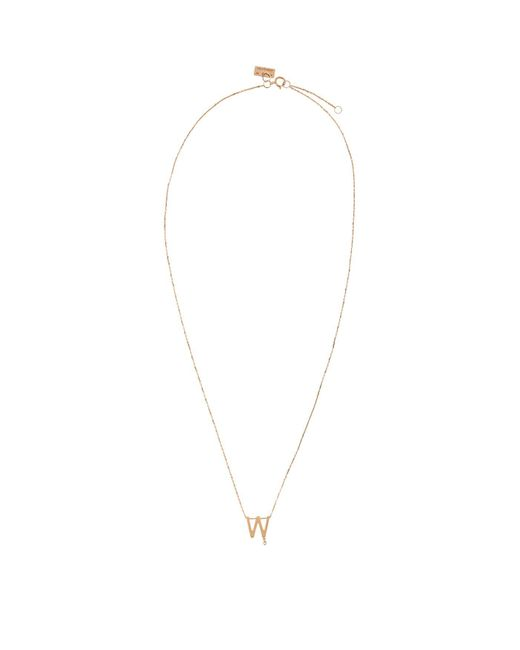 Vanrycke Metallic Rose Gold And Diamond Abcdaire Letter W Necklace
