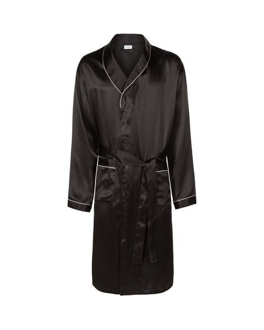 Zimmerli Black Satin Mid-length Robe for men