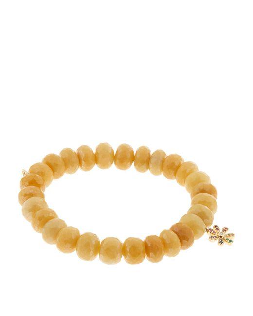 Sydney Evan Yellow Gold Rainbow Charm Bead Bracelet
