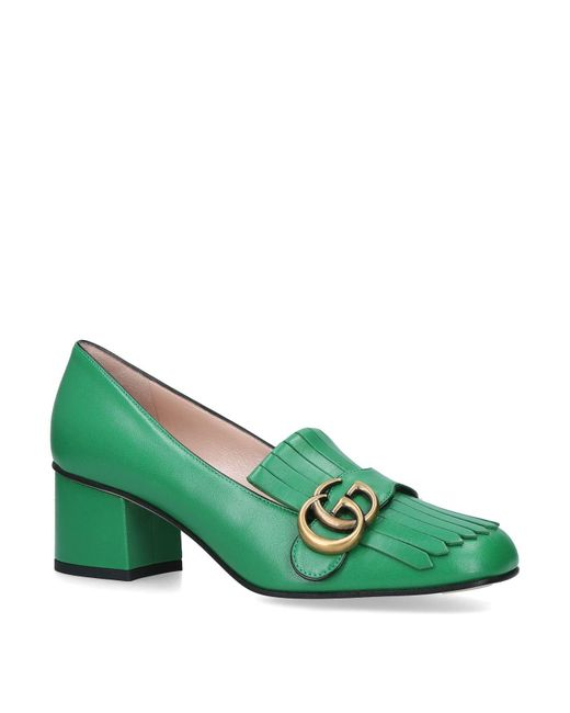Gucci Green Marmont Fringed Pumps 55