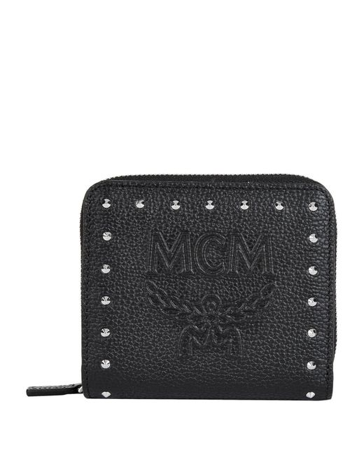 MCM Black Studded Chansell Zip-around Wallet