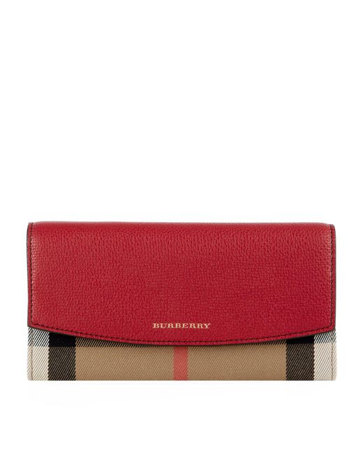 Burberry - Red Porter House Check And Leather Continental Wallet - Lyst