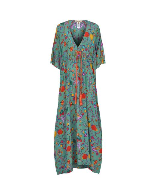 Lazul Green Floral Silk Kaftan