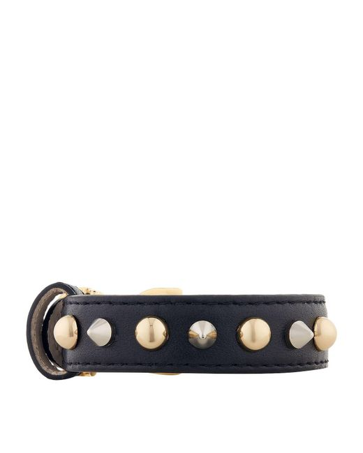 Dolce & Gabbana - Blue Studded Leather Logo Bracelet - Lyst