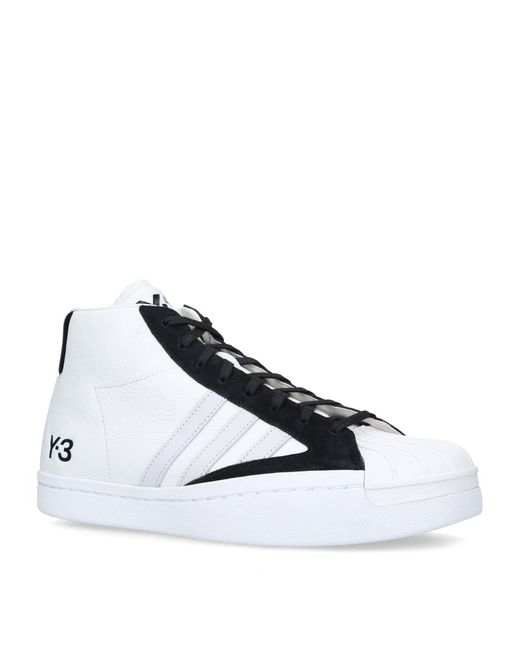 Adidas White + Y-3 Leather Yohji Pro High-top Sneakers for men