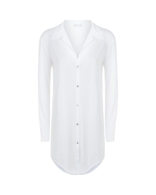 Hanro - White Cotton Deluxe Boyfriend Nightshirt - Lyst