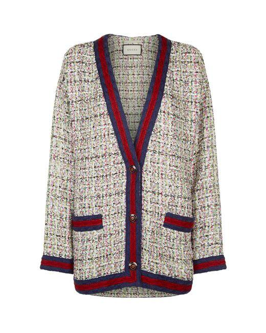 Gucci - White Embellished Tweed Cardigan - Lyst