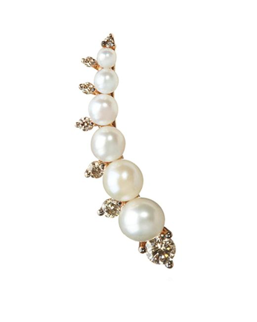 Annoushka - Metallic Diamonds And Pearls Right Ear Pin - Lyst