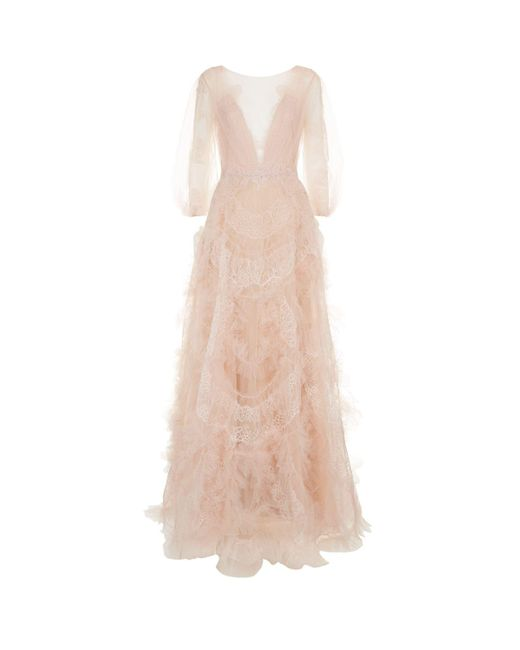 Marchesa | Pink Lace Ruffle Ballgown | Lyst