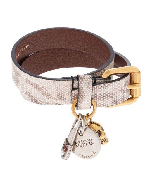 Alexander McQueen | Gray Snake-embossed Double Wrap Bracelet | Lyst