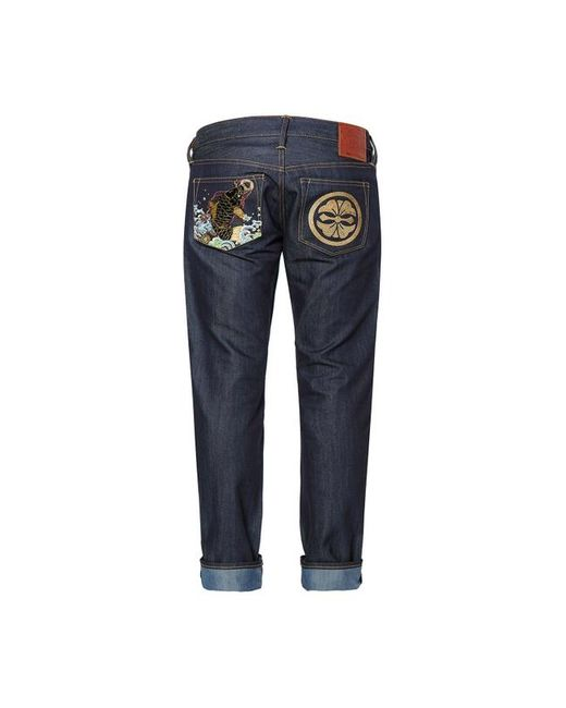 Evisu Blue Slim-fit Carp And Kamon Embroidered Denim Jeans for men