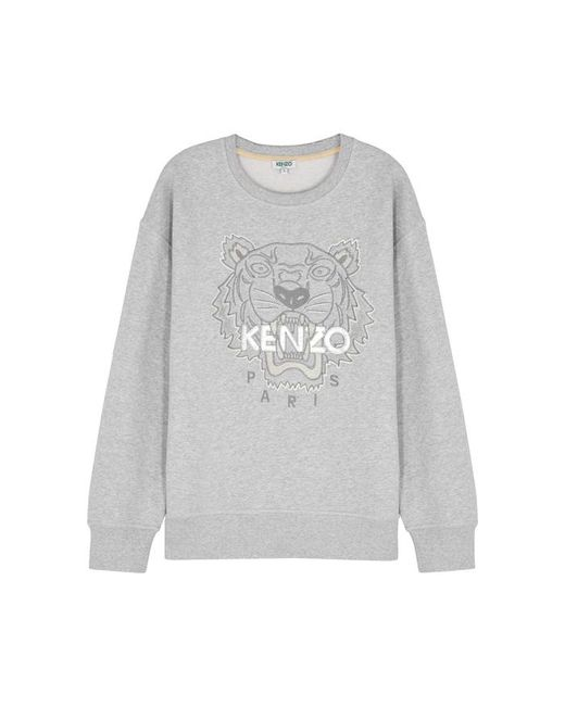 Women's Gray Tiger embroidered Cotton Sweatshirt