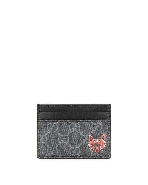 54fdf1b0307c Gucci GG Supreme Black Leather Cardholder in Black for Men - Save 30 ...