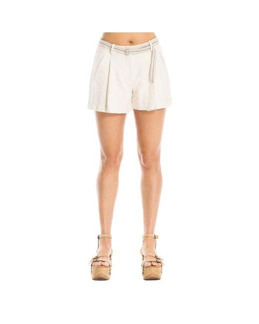 Max Studio - White Slub Cotton Shorts - Lyst