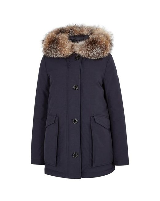 Moncler Blue Courvite Fur-trimmed Shell Coat