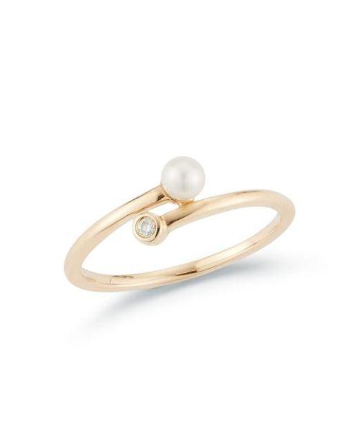 Dana Rebecca 14ct Yellow Gold And Diamond Pearl Ivy Ring
