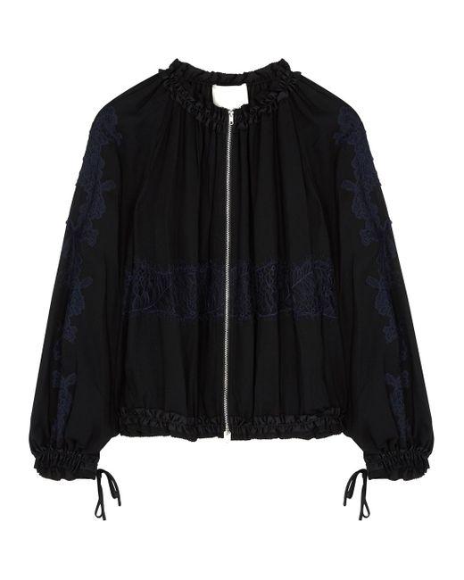 3.1 Phillip Lim Black Lace-appliquéd Bomber Jacket
