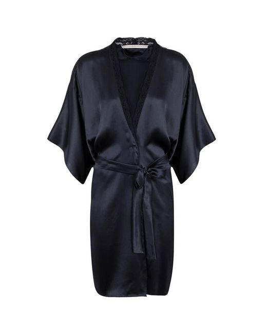 Stella McCartney - Blue Clara Whispering Lace-trimmed Silk Robe - Size S - Lyst