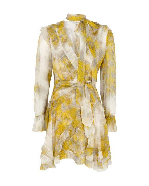 Zimmermann Yellow Botanica Printed Silk Wrap Dress