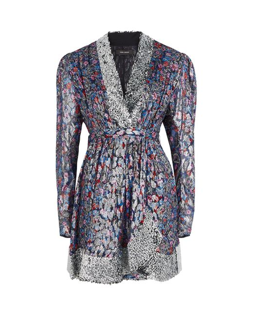 Isabel Marant Blue Merenea Floral-print Silk-blend Mini Dress