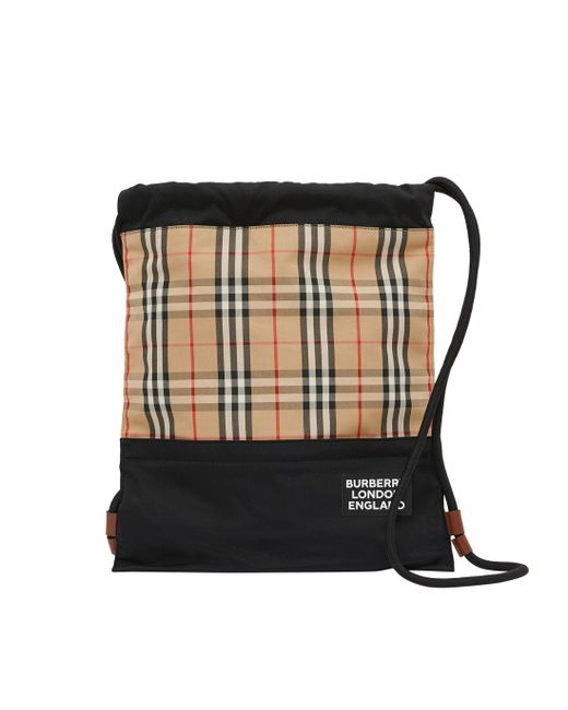 Burberry Natural Vintage Check Panel Drawcord Backpack for men