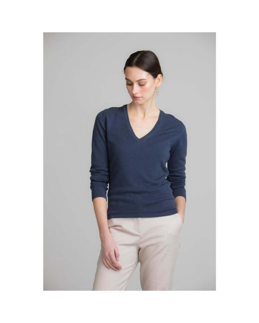 Johnstons - Blue Marina Classic V Neck Womens Cashmere Jumper - Lyst