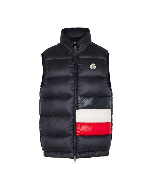 Moncler Blue Sovex Navy Quilted Shell Gilet for men