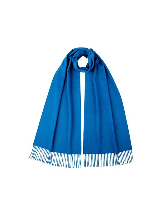 Johnstons Zaffre Blue Oversized Classic Cashmere Scarf for men