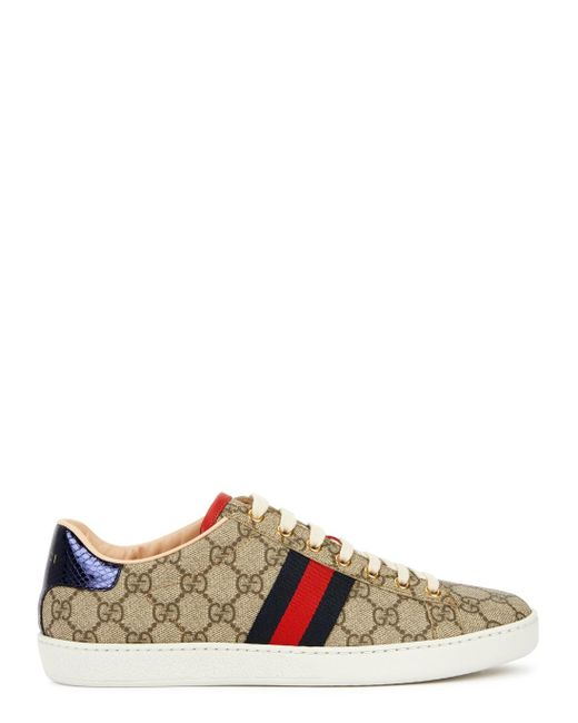 Gucci Natural New Ace GG Supreme Taupe Sneakers