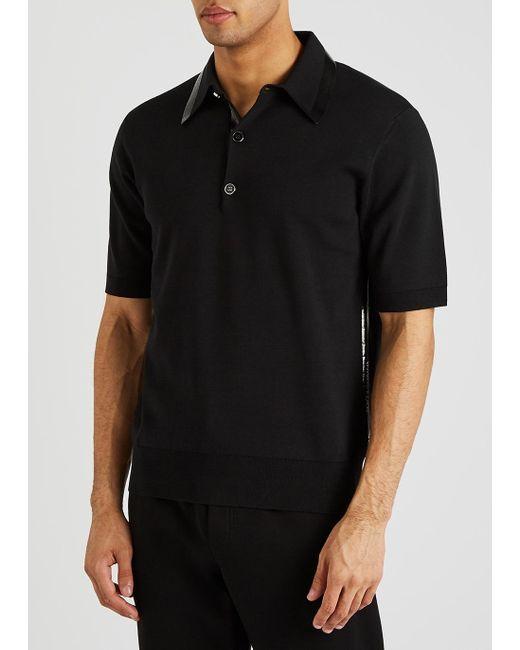 Dolce & Gabbana Black Vinyl-trimmed Polo Shirt for men