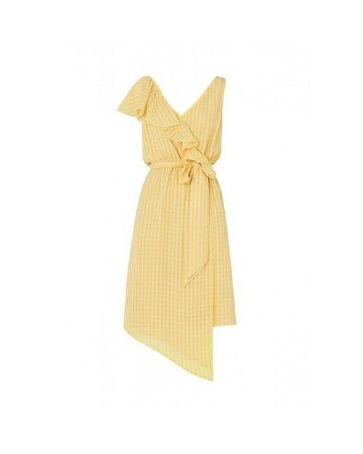 1918275043 Kitri Francesca Frill Wrap Dress in Yellow - Lyst
