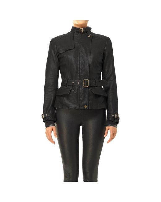 Max Studio - Black Belted Leather Jacket - Lyst