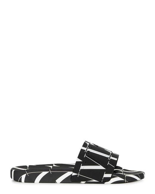 Valentino Garavani Black Vltn Print Rubber Slide Sandals for men