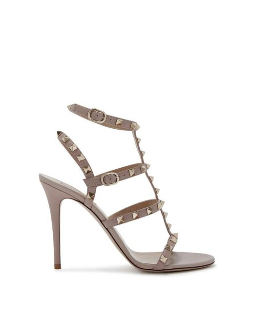 a697a2d3843 Valentino Rockstud 100 Blush Leather Sandals in Metallic - Lyst