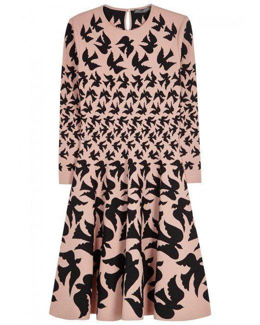 Alexander McQueen | Pink Blush Dove-intarsia Dress | Lyst