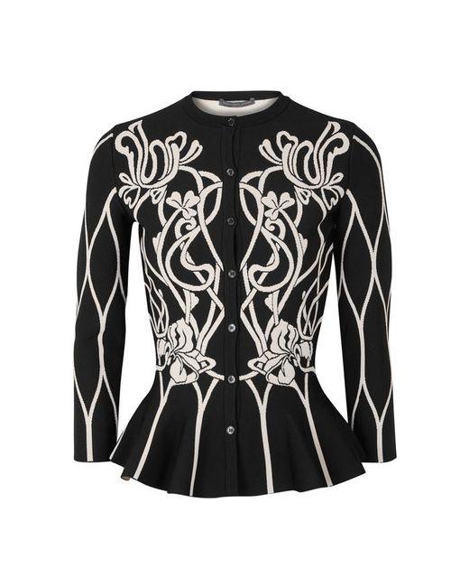 Alexander McQueen - Black Art Nouveau Jacquard-knit Cardigan - Lyst