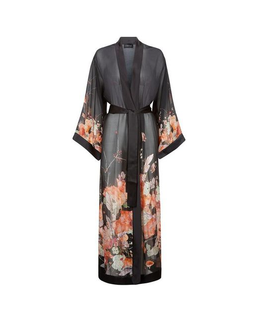 Meng - Black Silk Chiffon Unlined Robe - Lyst