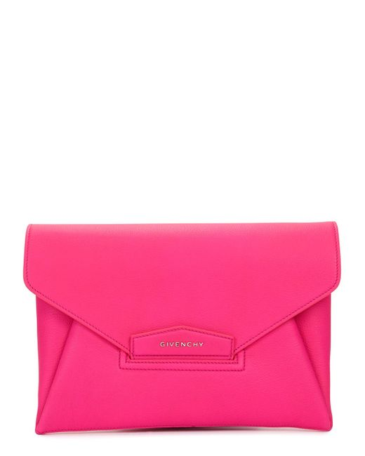 Givenchy | Pink Antigona Envelope Grained-leather Clutch | Lyst