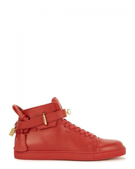Buscemi | 100mm Red Leather Hi-top Trainers - Size 4 | Lyst